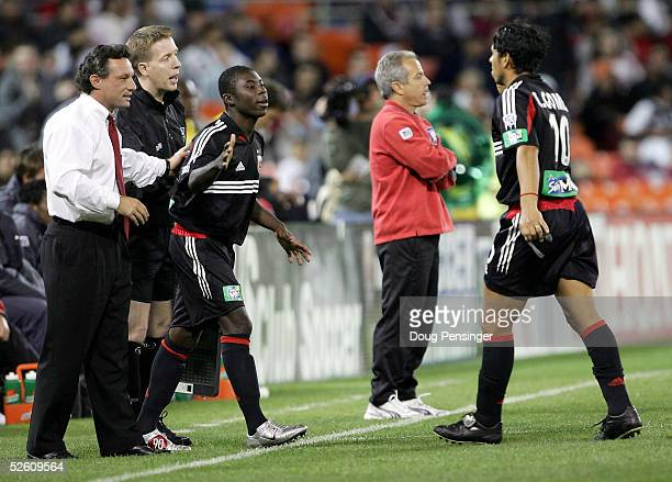 Coach Peter Nowak sends Freddy Adu of DC United into the game for Christian Gomez in the second half against the Chicago Fire as DC United deteated...
