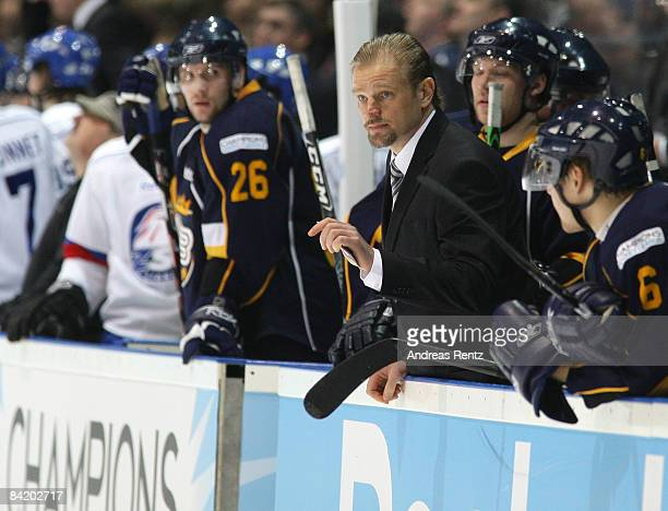 Coach Petri Matikainen of Espoo Blues looks on during the IIHF Champions Hockey League 2nd semi-final match between Espoo Blues and ZSC Lions Zurich...