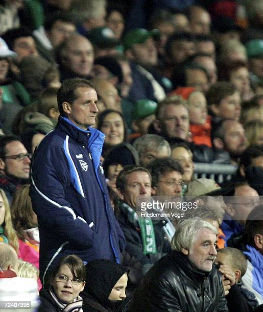 Coach Petrik Sander of Cottbus sits on the tribune during the Bundesliga match between Werder Bremen and Energie Cottbus at the Weser stadium on...