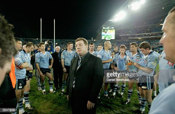 Coach Phil Gould of the Blues dejected after the Blues series loss during game 3 of the NRL State of Origin series between the NSW Blues and the...
