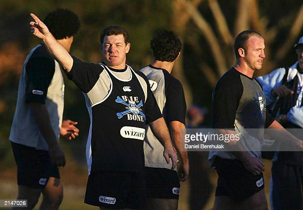 Coach Phil Gould of the Blues gives directions during the New South Wales Blues State of Origin 3 training session at Harry Elliot Oval on July 9,...