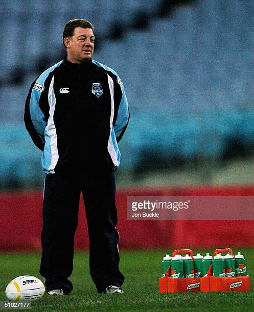 Coach Phil Gould of the NSW Blues watches on during NSW State of Origin Training at the Telstra Stadium July 6 2004 in Sydney Australia