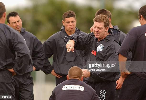 NSW coach Phil Gould talks to his players during the NSW Blues State Of Origin training session ahead of Wednesdays NRL State Of Origin Game 1...
