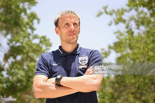 Coach Phil Neville poses for photos during a England U21's press conference at Caesarea Golf Club on June 8 2013 in Netanya Israel
