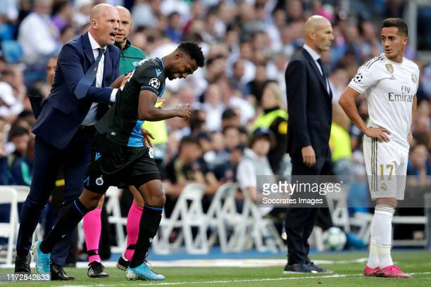 coach Philippe Clement of Club Brugge Emmanuel Bonaventure of Club Brugge celebrate goal during the UEFA Champions League match between Real Madrid v...