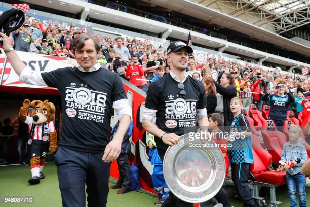 coach Phillip Cocu of PSV Marco van Ginkel of PSV Celebrate the championship during the PSV champions parade at the City of Eindhoven on April 16...