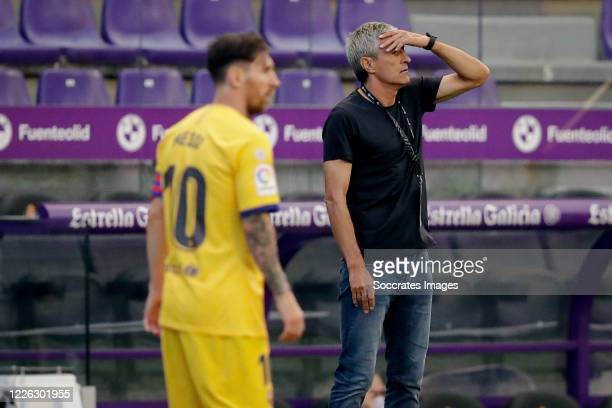 coach Quique Setien of FC Barcelona during the La Liga Santander match between Real Valladolid v FC Barcelona at the Estadio Municipal José Zorrilla...