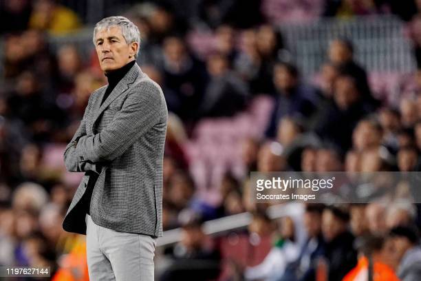 coach Quique Setien of FC Barcelona during the Spanish Copa del Rey match between FC Barcelona v Leganes at the Camp Nou on January 30 2020 in...