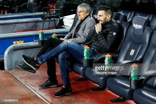 coach Quique Setien of FC Barcelona second coach Eder Sarabia of FC Barcelona during the La Liga Santander match between FC Barcelona v Granada at...