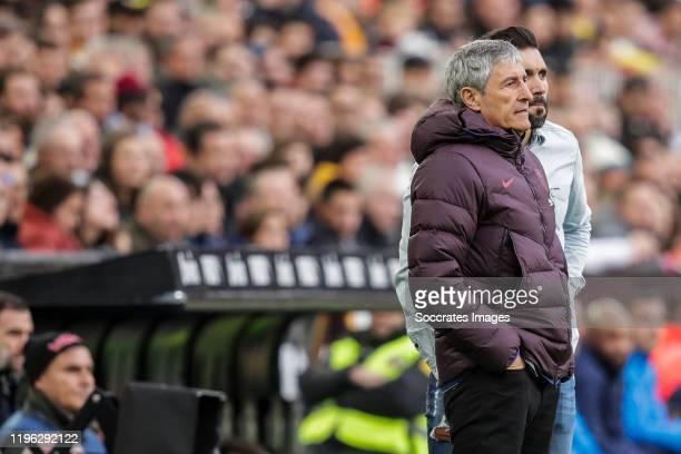 coach Quique Setien of FC Barcelona second coach Eder Sarabia of FC Barcelona during the La Liga Santander match between Valencia v FC Barcelona at...