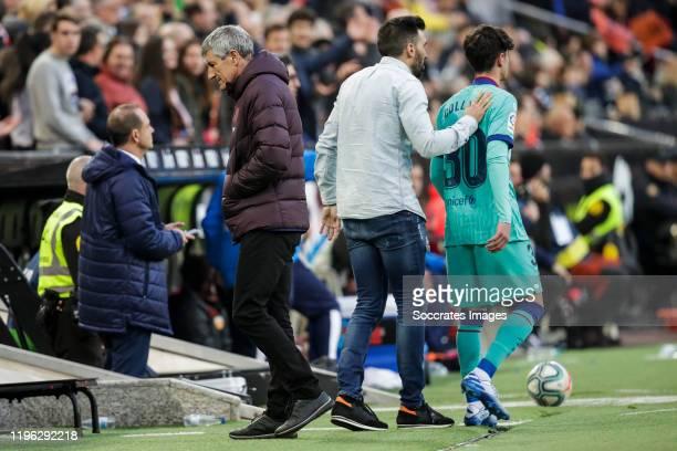 coach Quique Setien of FC Barcelona second coach Eder Sarabia of FC Barcelona Collado of FC Barcelona during the La Liga Santander match between...