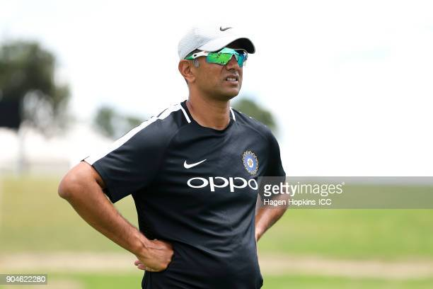 Coach Rahul Dravid of India looks on during the ICC U19 Cricket World Cup match between India and Australia at Bay Oval on January 14 2018 in...