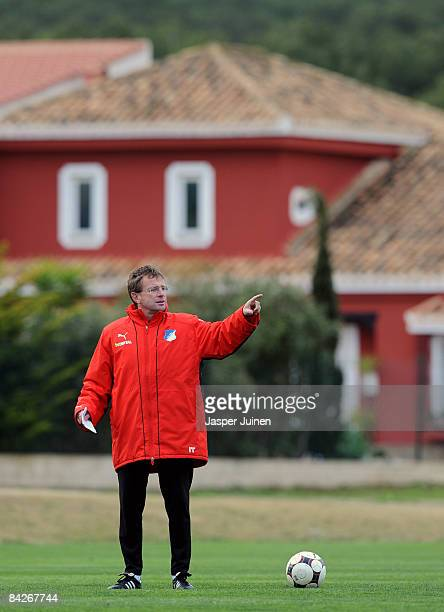 Coach Ralf Rangnick of 1899 Hoffenheim instructs his players during day five of his team's training camp on January 13 2009 in La Manga Spain