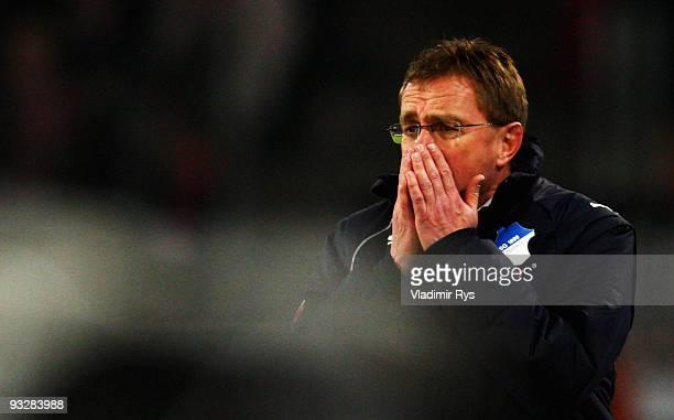 Coach Ralf Rangnick of Hoffenheim reacts during the Bundesliga match between 1 FC Koeln and 1899 Hoffenheim at RheinEnergieStadion on November 21...
