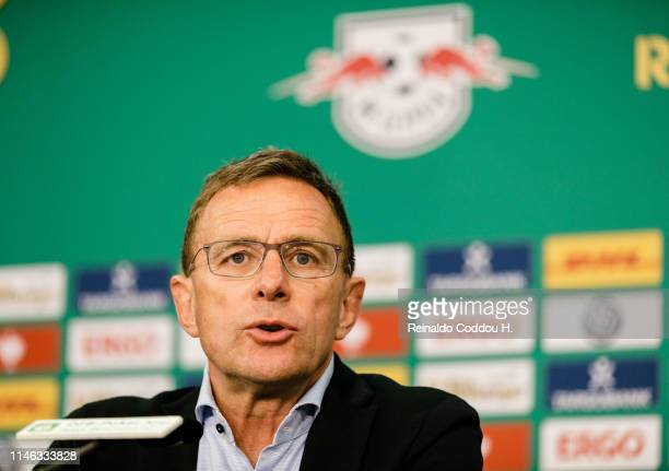 Coach Ralf Rangnick of RB Leipzig is seen during a press conference after the DFB Cup final between RB Leipzig and Bayern Muenchen at Olympiastadion...