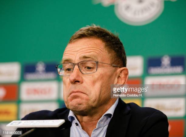 Coach Ralf Rangnick of RB Leipzig looks dejected during a press conference after the DFB Cup final between RB Leipzig and Bayern Muenchen at...