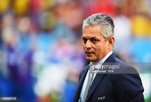 Coach Reinaldo Rueda of Ecuador looks on during the 2014 FIFA World Cup Brazil Group E match between Switzerland and Ecuador at Estadio Nacional on...