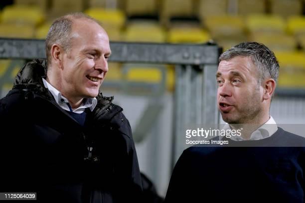 coach Rene Hake of SC Cambuur coach Robert Molenaar of Roda JC during the Dutch Keuken Kampioen Divisie match between Roda JC v SC Cambuur at the...