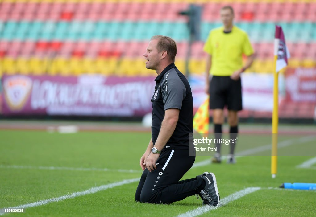 coach Rene Rydlewicz of BFC Dynamo during the game between BFC Dynamo Berlin and VSG Altglienicke on august 20, 2017 in Berlin, Germany.