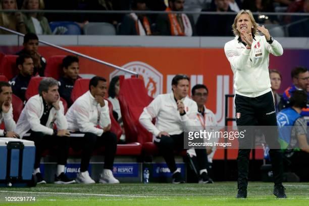 coach Ricardo Gareca of Peru during the International Friendly match between Holland v Peru at the Johan Cruijff Arena on September 6 2018 in...