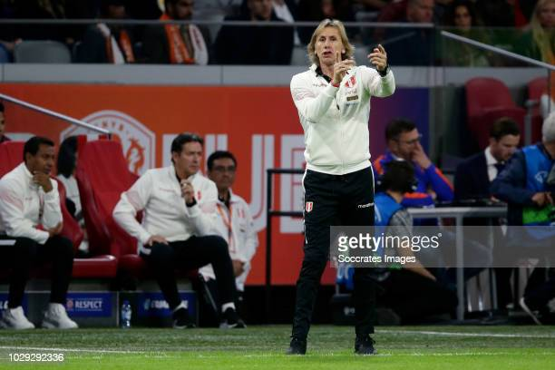 Coach Ricardo Gareca of Peru during the International Friendly match between Holland v Peru at the Johan Cruijff Arena on September 6, 2018 in...