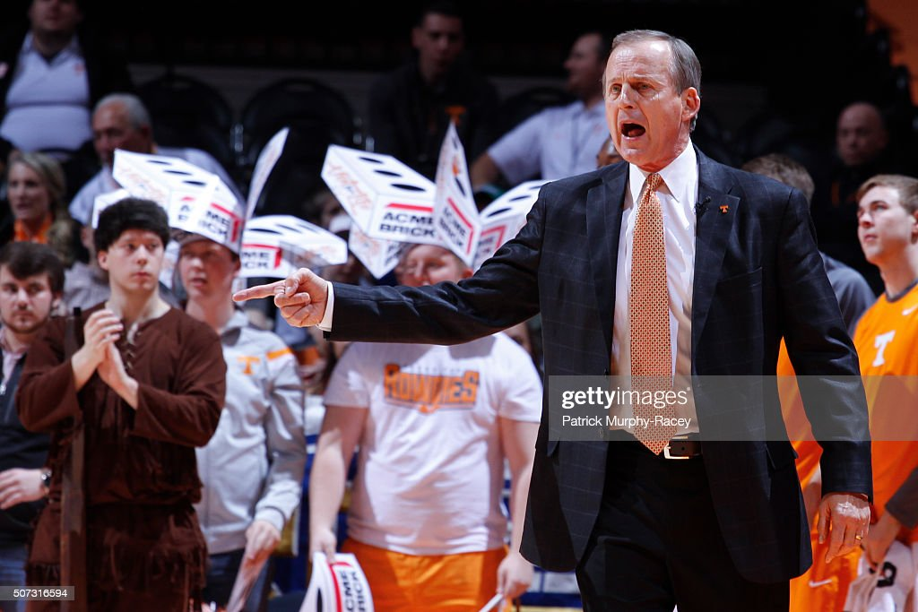 Coach Rick Barnes of the of the Tennessee Volunteers shouts downcourt against the South Carolina Gamecocks in a game at Thompson-Boling Arena on January 23, 2016 in Knoxville, Tennessee.