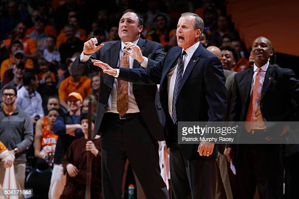 Coach Rick Barnes of the Tennessee Volunteers shouts against of the Texas AM Aggies in a game at ThompsonBoling Arena on January 9 2016 in Knoxville...