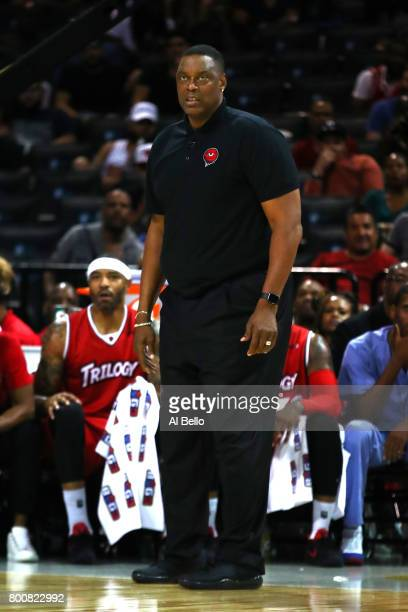 Coach Rick Mahorn of Trilogy looks on against the Killer 3s during week one of the BIG3 three on three basketball league at Barclays Center on June...