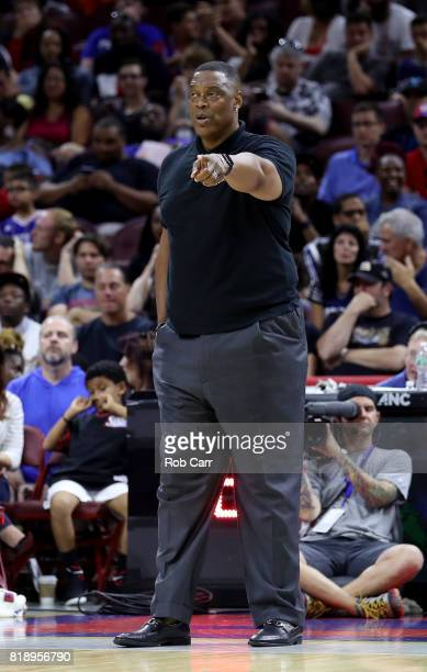 Coach Rick Mahorn of Trilogy looks on in the game against the Ball Hogs during week four of the BIG3 three on three basketball league at Wells Fargo...