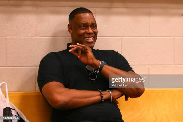 Coach Rick Mahorn of Trilogy prepares in the locker room during week four of the BIG3 three on three basketball league at Wells Fargo Center on July...