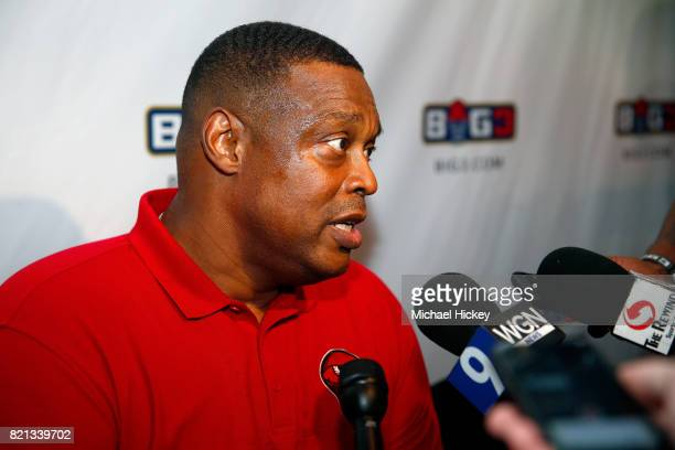 Coach Rick Mahorn of Trilogy speaks to the media during week five of the BIG3 three on three basketball league at UIC Pavilion on July 23 2017 in...
