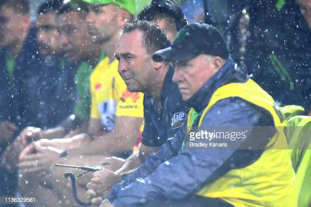 Coach Ricky Stuart of the Raiders watches on during the round 1 NRL match between the Gold Coast Titans and the Canberra Raiders at Cbus Super...