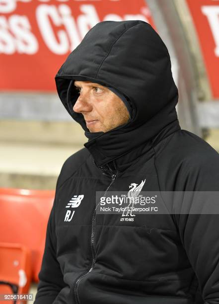 Coach Rob Jones of Liverpool during the Liverpool v Porto Premier League International Cup game at Leigh Sports Village on February 28 2018 in Leigh...