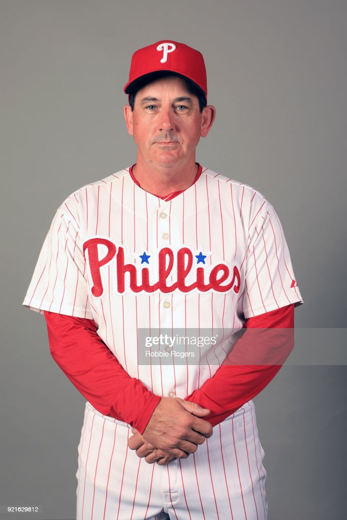 Coach Rob Thomson #59 of the Philadelphia Phillies poses during Photo Day on Tuesday, February 20, 2018 at Spectrum Field in Clearwater, Florida.