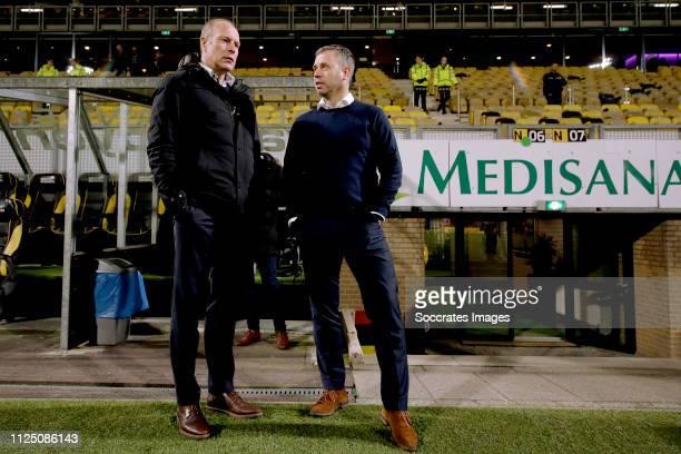 coach Robert Molenaar of Roda JC coach Rene Hake of SC Cambuur during the Dutch Keuken Kampioen Divisie match between Roda JC v SC Cambuur at the...