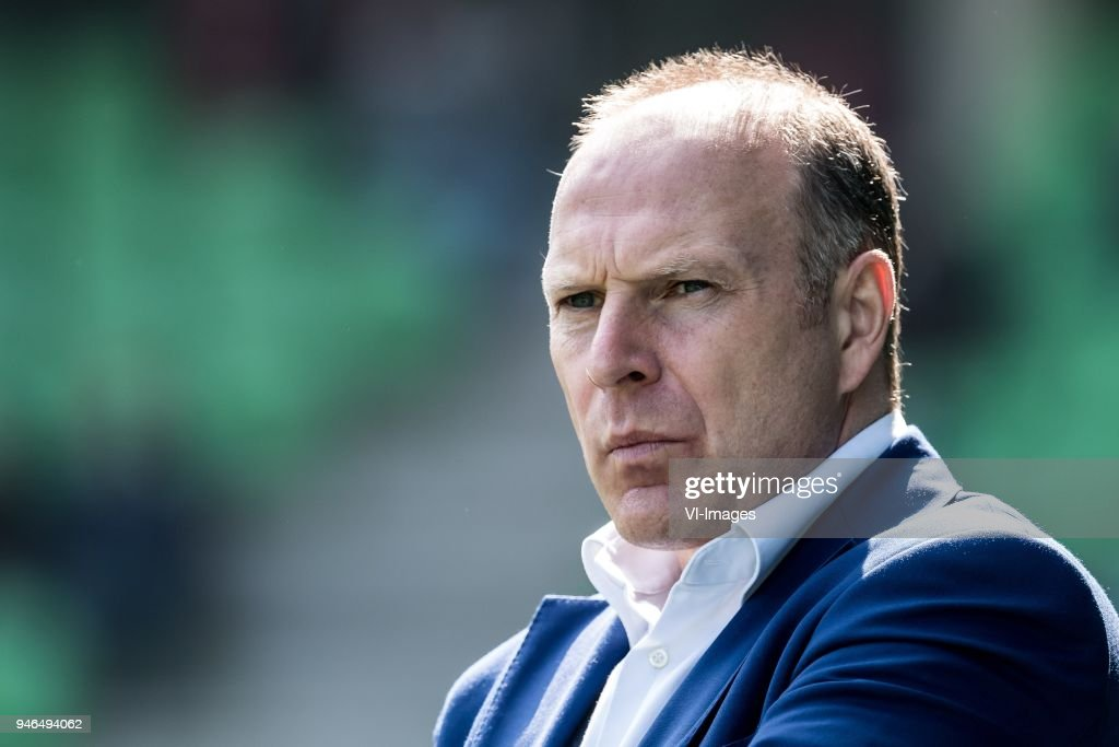 coach Robert Molenaar of Roda JC during the Dutch Eredivisie match between FC Groningen and Roda JC Kerkrade at Noordlease stadium on April 15, 2018 in Groningen, The Netherlands