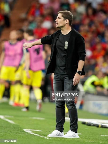 coach Robert Moreno of Spain during the EURO Qualifier match between Spain v Sweden at the Estadio Santiago Bernabeu on June 10 2019 in Madrid Spain