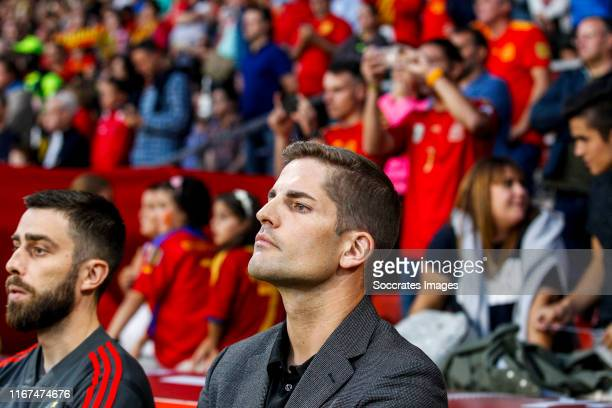 coach Robert Moreno of Spain during the EURO Qualifier match between Spain v Faroe Islands at the El Molinon on September 8 2019 in Gijon Spain