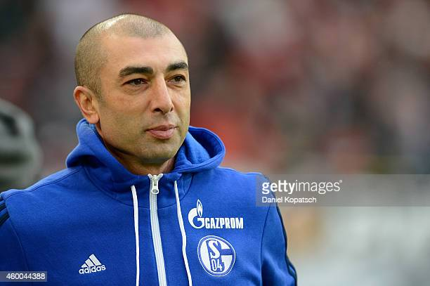 Coach Roberto di Matteo of Schalke looks on prior to the first Bundesliga match between VfB Stuttgart and FC Schalke 04 at MercedesBenz Arena on...