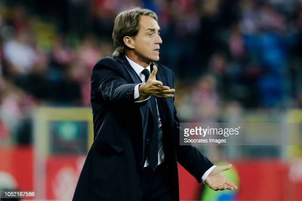 Coach Roberto Mancini of Italy during the UEFA Nations league match between Poland v Italy at the Slaski Stadium on October 14, 2018 in Chorzow