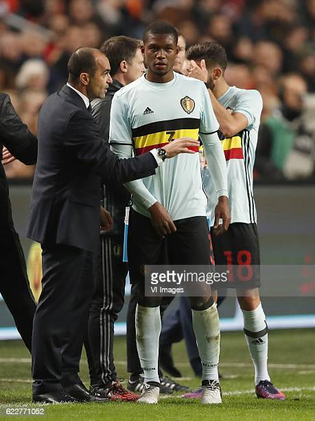 coach Roberto Martinez of Belgium Christian Kabasele of Belgiumduring the friendly match between Netherlands and Belgium at the Amsterdam Arena on...