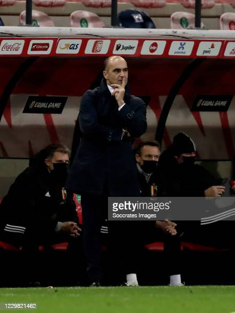 Coach Roberto Martinez of Belgium during the UEFA Nations league match between Belgium v Denmark at the King Baudouin Stadium on November 18, 2020 in...