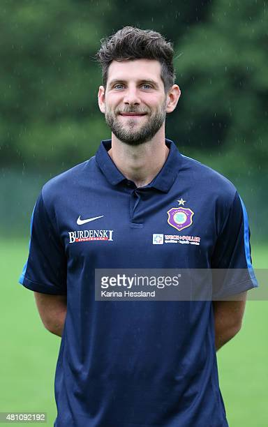Coach Robin Lenk poses during the official team presentation of Erzgebirge Aue at ground 2 on July 14 2015 in Aue Germany