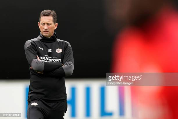 Coach Roger Schmidt of PSV during the PSV Training at the Philips Stadium on October 21, 2020 in Eindhoven Netherlands