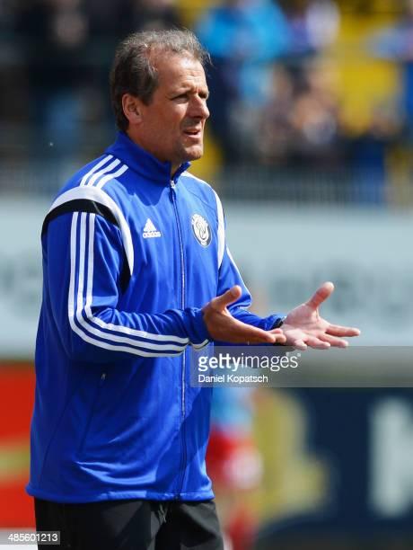 Coach Roland Seitz of Elversberg reacts during the third Bundesiga match between SV Elversberg and 1. FC Heidenheim on April 19, 2014 in Neunkirchen,...