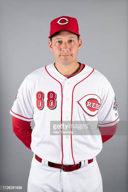 Coach Rollando Valles of the Cincinnati Reds poses during Photo Day on Tuesday February 19 2019 at Goodyear Ballpark in Goodyear Arizona