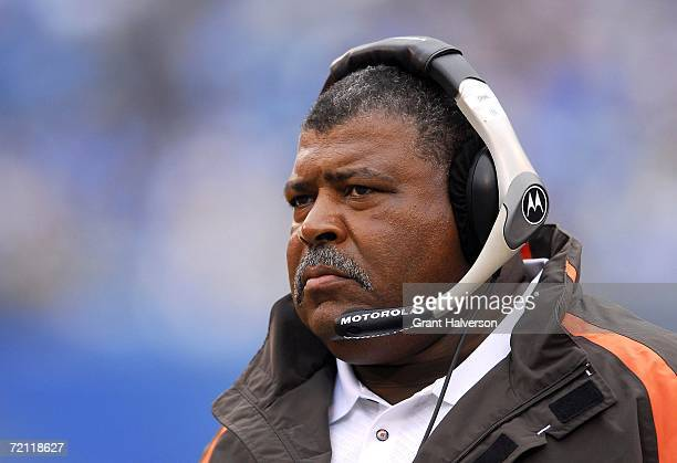 Coach Romeo Crennel of the Cleveland Browns watches his team against the Carolina Panthers on October 8 2006 at Bank of America Stadium in Charlotte...