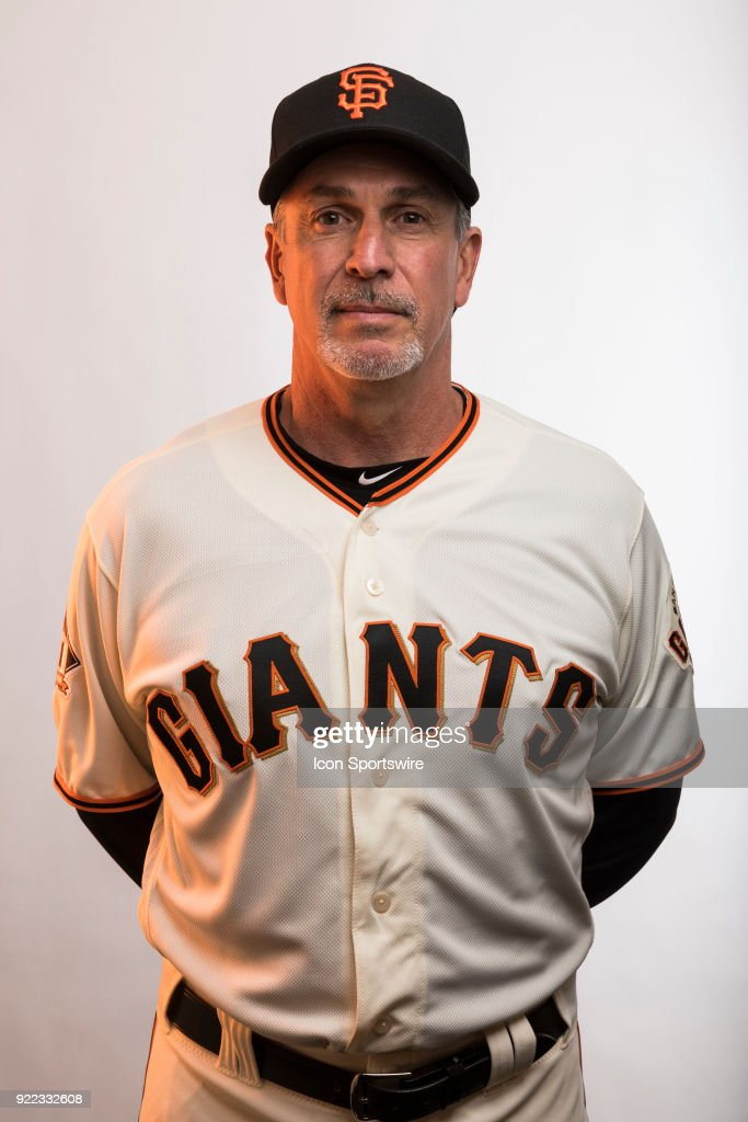 Coach Ron Wotus (23) poses for a photo during the San Francisco Giants photo day on Tuesday, Feb. 20, 2018 at Scottsdale Stadium in Scottsdale, Ariz.