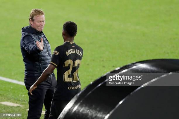 Coach Ronald Koeman of FC Barcelona Ansu Fati of FC Barcelona during the La Liga Santander match between Celta de Vigo v FC Barcelona at the Estadio...