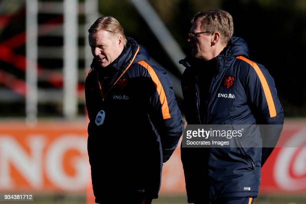 coach Ronald Koeman of Holland assistant trainer Dwight Lodeweges of Holland during the Training Holland at the KNVB Campus on March 19 2018 in Zeist...